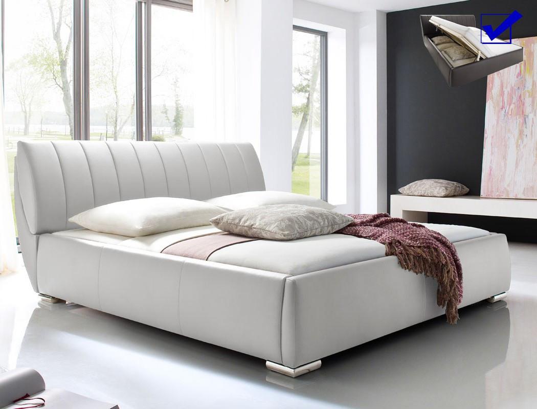 Polsterbett 180x200 Mit Bettkasten  Polsterbett 180x200 Bett weiß mit Bettkasten und