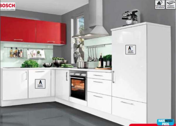Porta Küchen  nolte Küchen Einbauküche rosso weiß Hochglanz Lack von