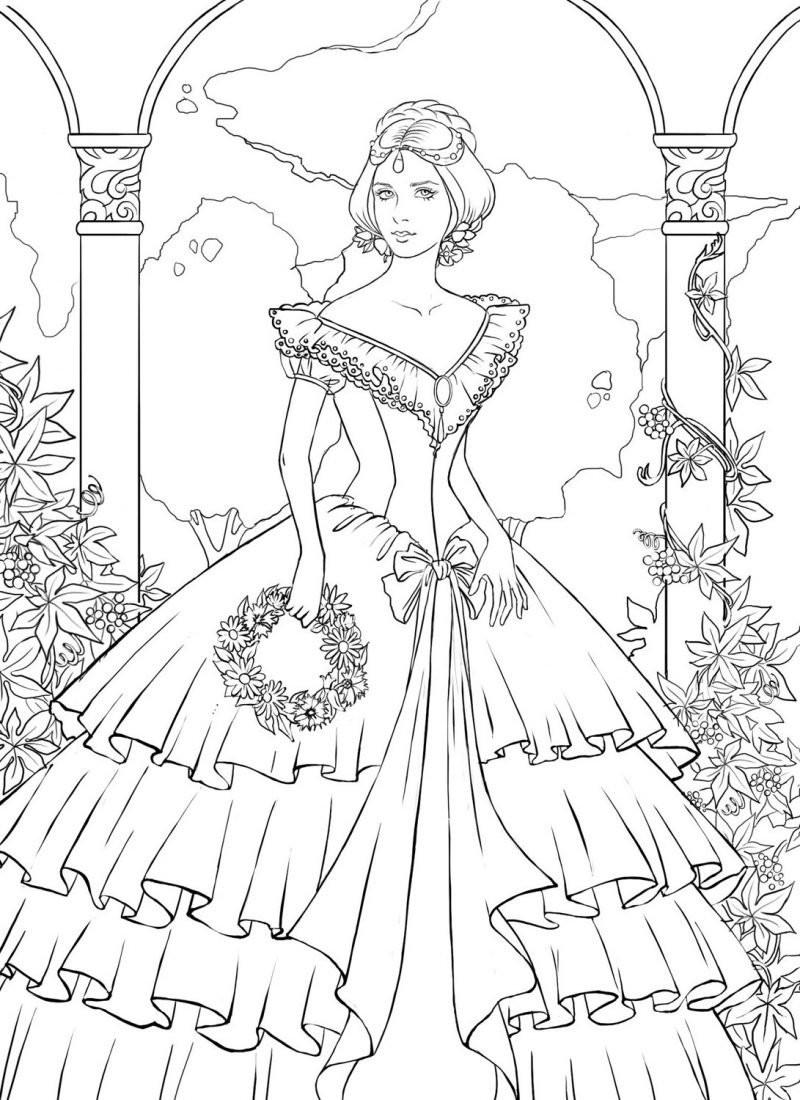 Prinzessin Garten  Stress abbauen 20 Bilder zum Ausmalen kostenlos für