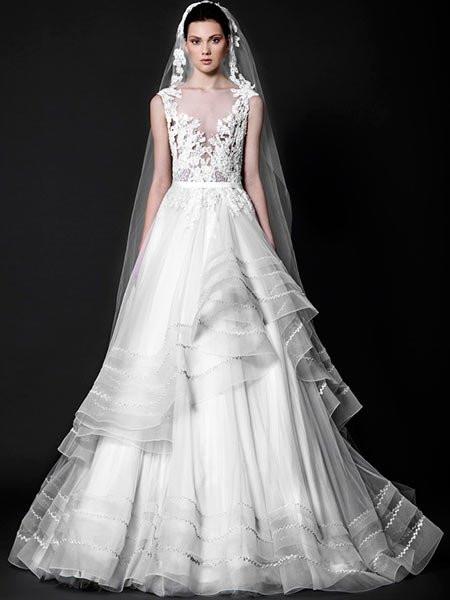 Prinzessinnenkleid Hochzeit  Hochzeitskleider 2016 Prinzessinnenkleid mit Spitzen Top