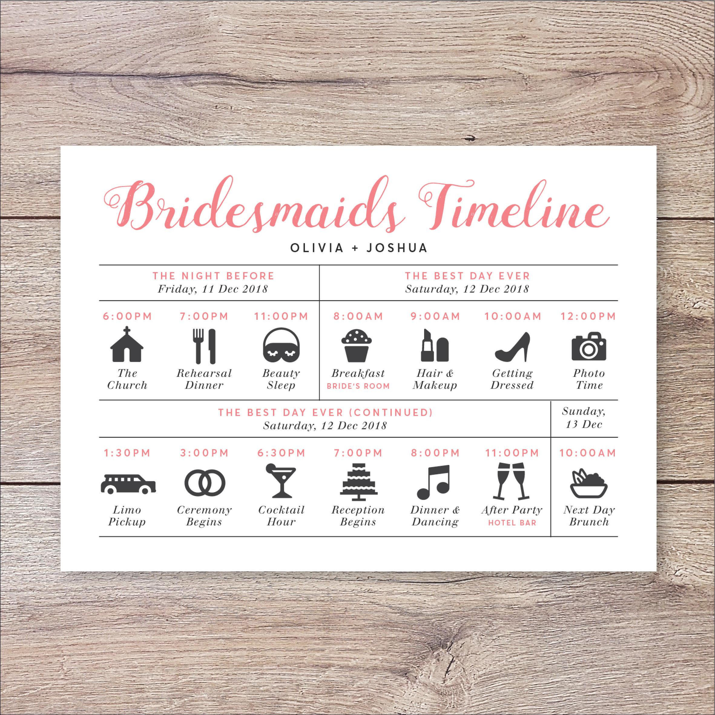 Programm Hochzeit  Brautjungfern Timeline Programm Hochzeit Timeline