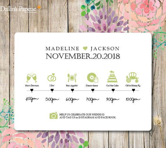 Programm Hochzeit  Hochzeit Timeline bedruckbar Hochzeits Programm Hochzeit