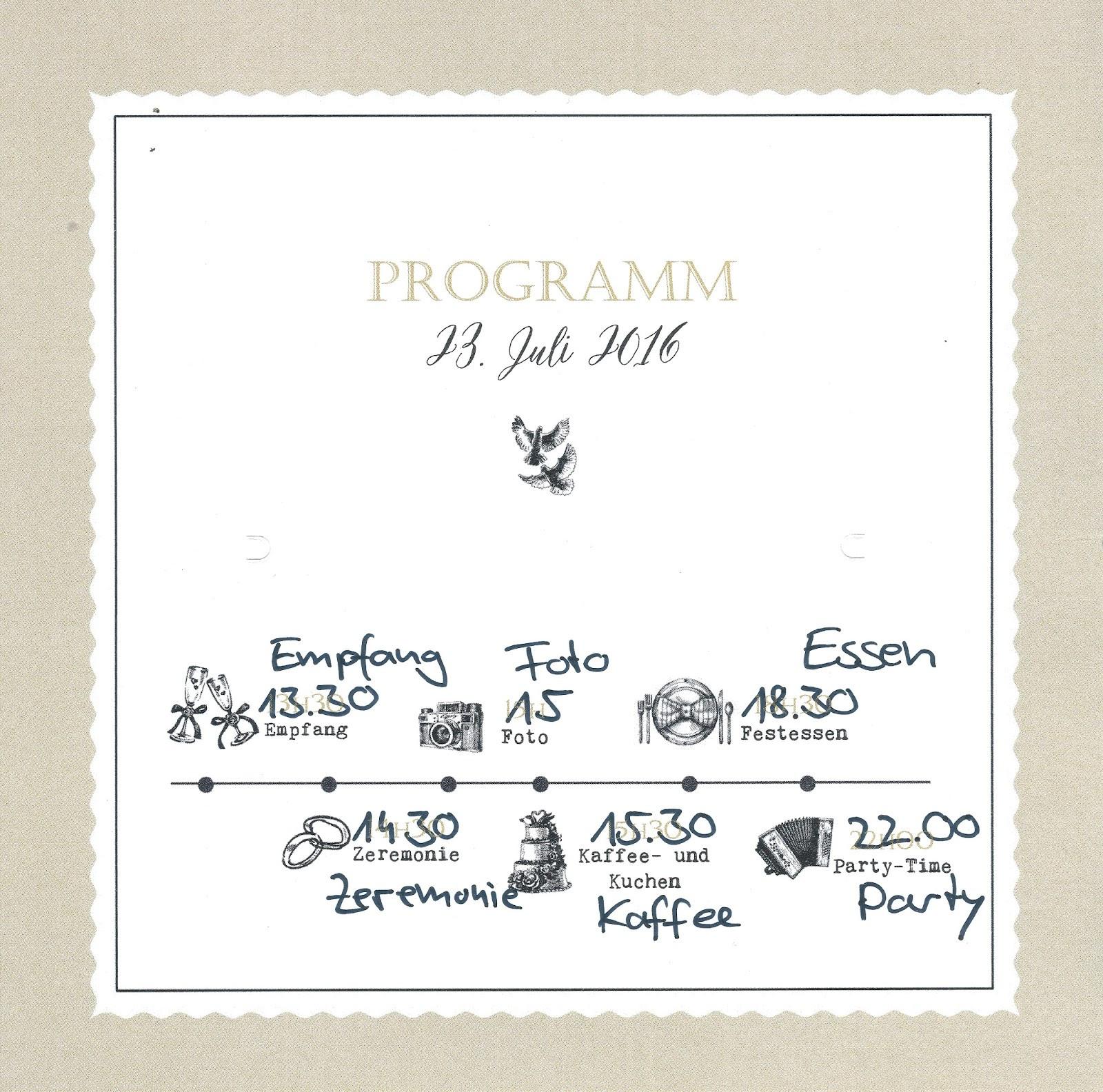 Programm Hochzeit  AnjaTobiHochzeit