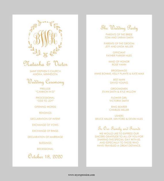 Programm Hochzeit  Hochzeit Programm Vorlage Tee Länge Leaf Monogramm Gold