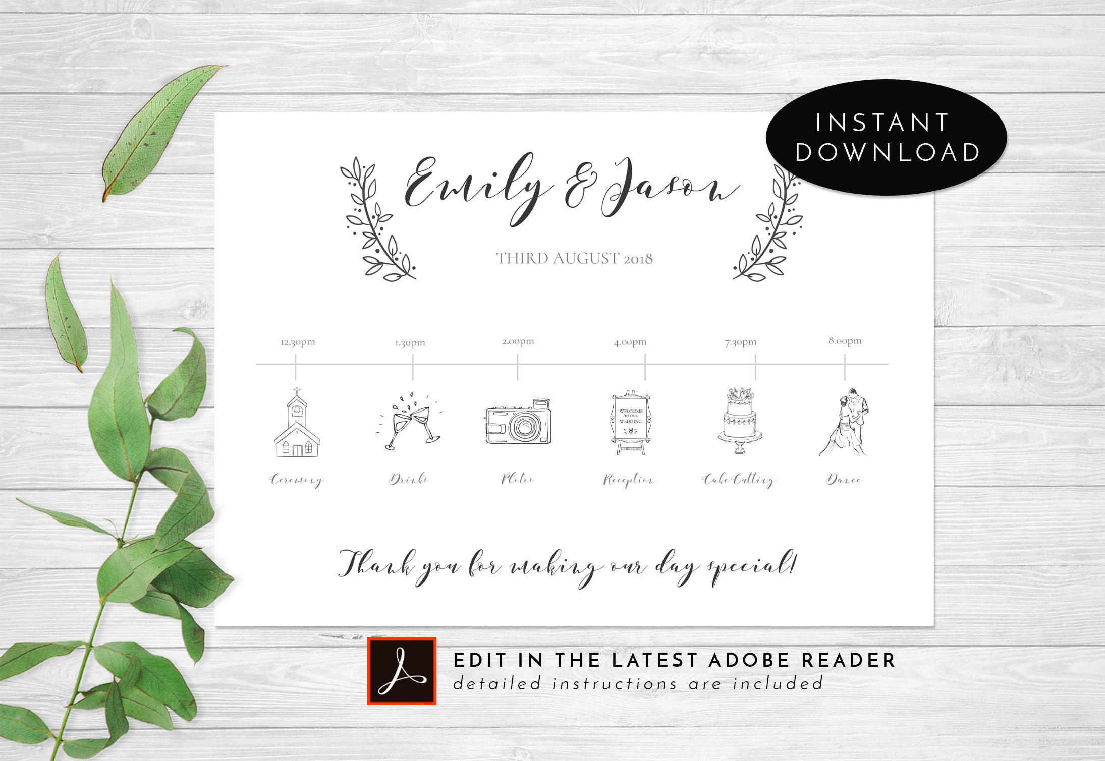 Programm Hochzeit  Hochzeit Timeline 5 x 7 Hochzeitsprogramm Hochzeit