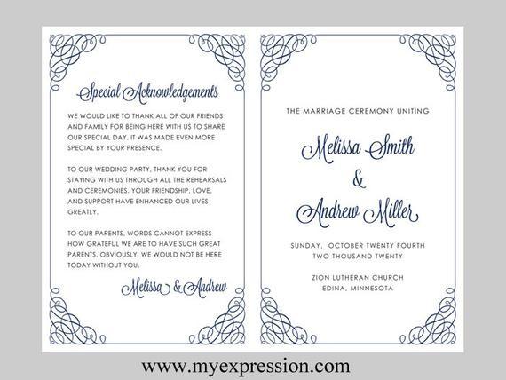 Programm Hochzeit  Hochzeit Programm Vorlage Kalligraphie Ecken Navy