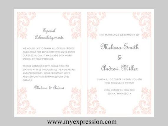 Programm Hochzeit  Hochzeit Programm Vorlage leichte rosa Damast Ornament