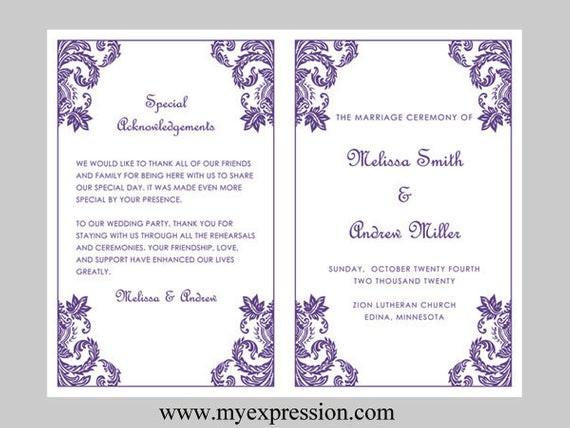 Programm Hochzeit  Hochzeit Programm Vorlage lila Damaris Ornament Instant