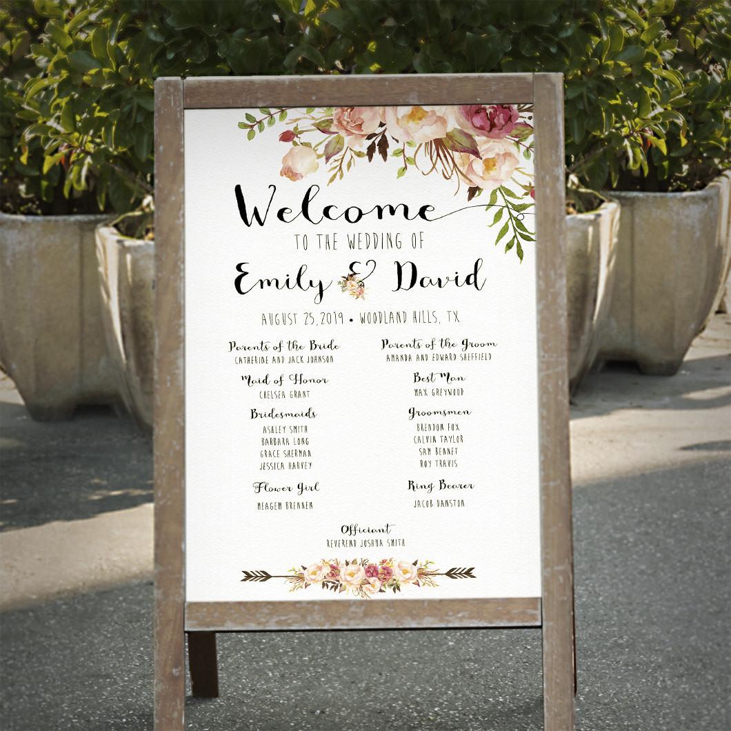 Programm Hochzeit  Hochzeit Programm Zeichen bedruckbar Boho Blumen Hochzeit