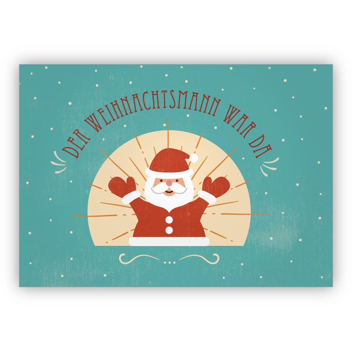 Retro Geschenke  Lustige Retro Vintage Geschenke Weihnachtskarte mit Santa