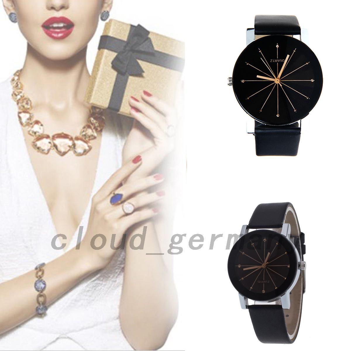Retro Geschenke  Leder Armbanduhr Schwarz Quarzuhr Damen Herren Retro