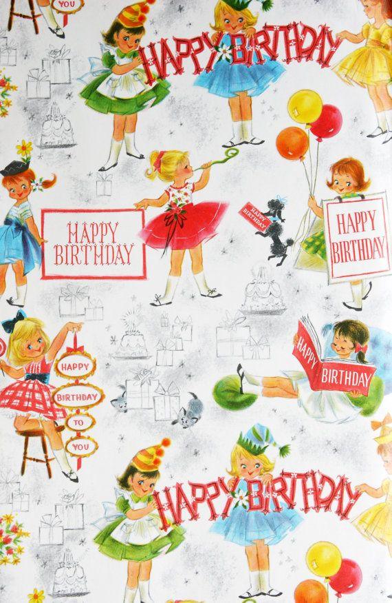 Retro Geschenke  Vintage Geschenk Verpackung Papier Geburtstag Girls Party