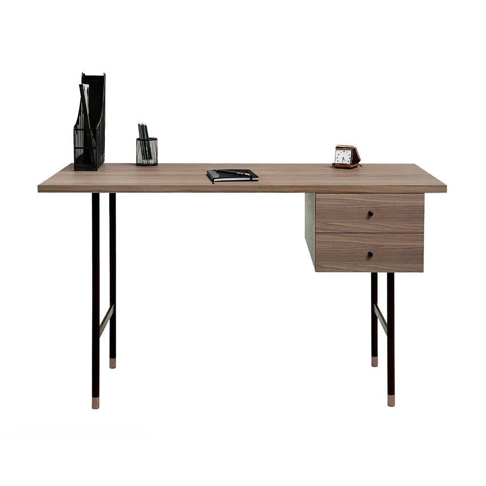 Retro Schreibtisch  Retro Schreibtisch Vionory Walnuss furniert mit zwei