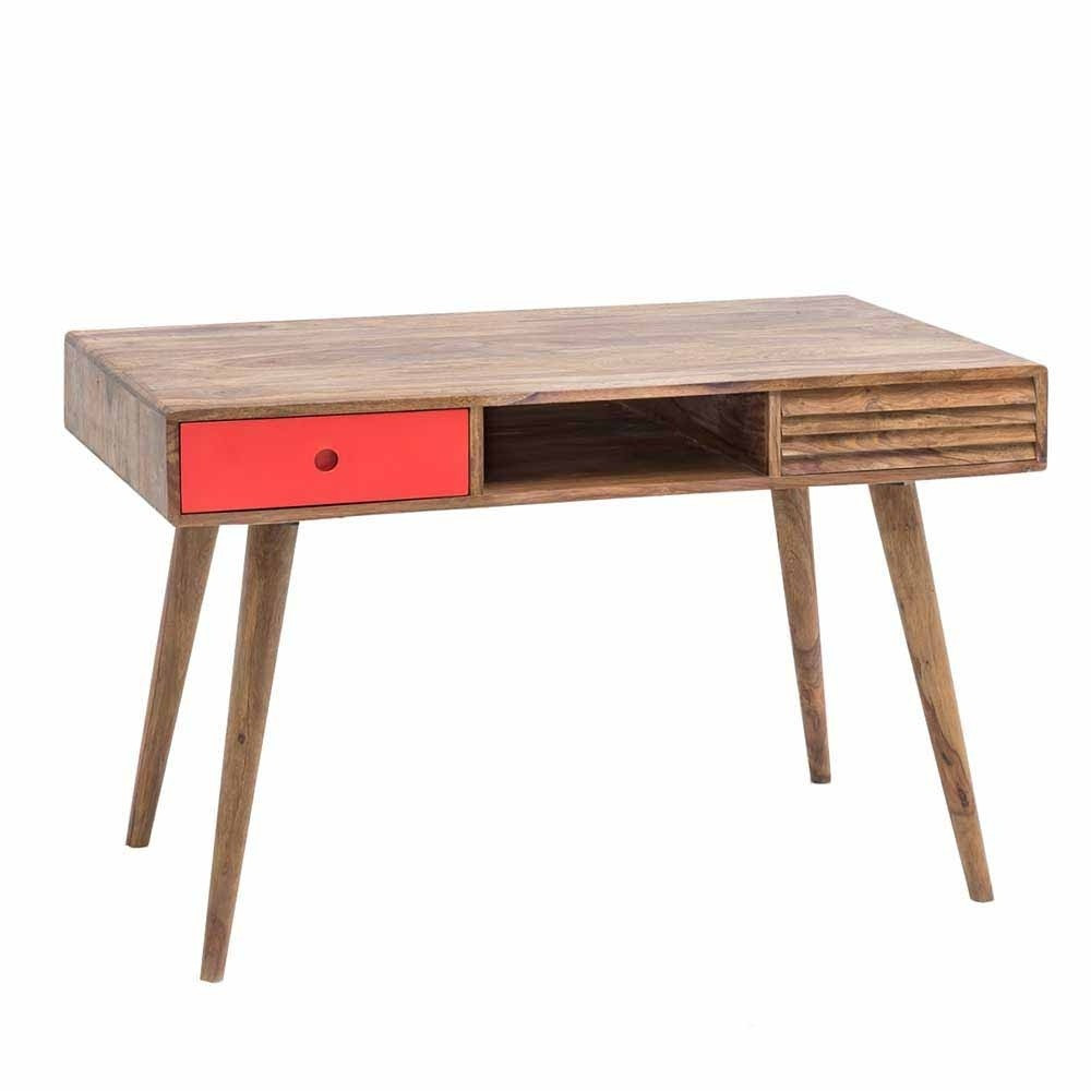 Retro Schreibtisch  Retro Design Schreibtisch aus Sheesham Cospic