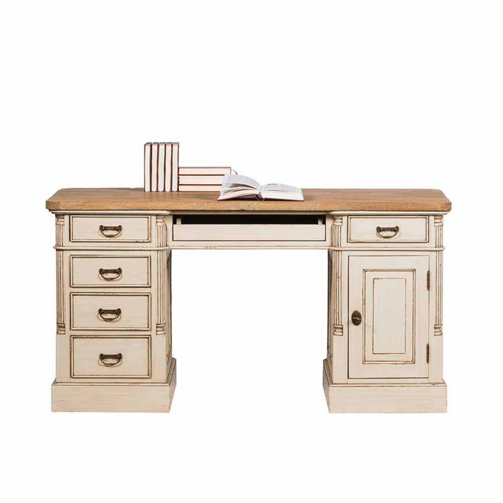 Retro Schreibtisch  Vintage Schreibtisch Irons in Creme Weiß