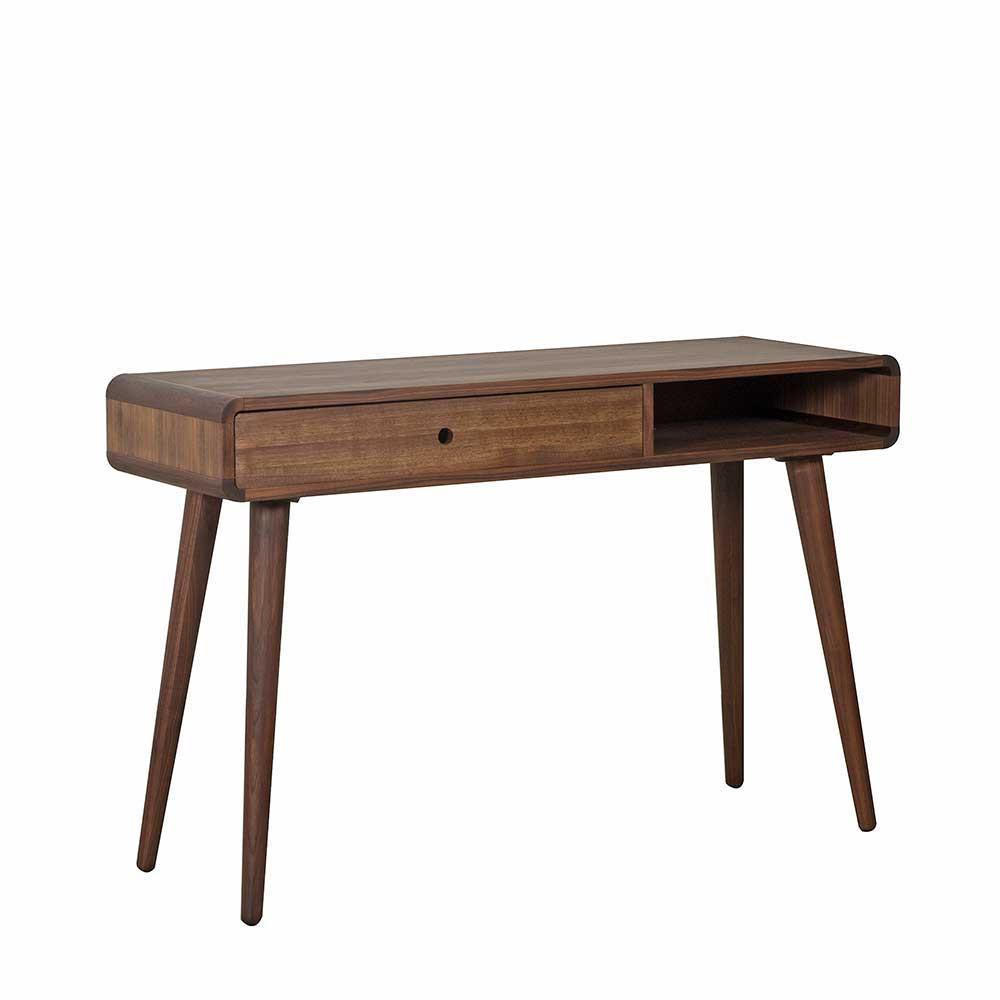 Retro Schreibtisch  Retro Schreibtisch Mosia aus Nussbaum Massivholz 120 cm breit