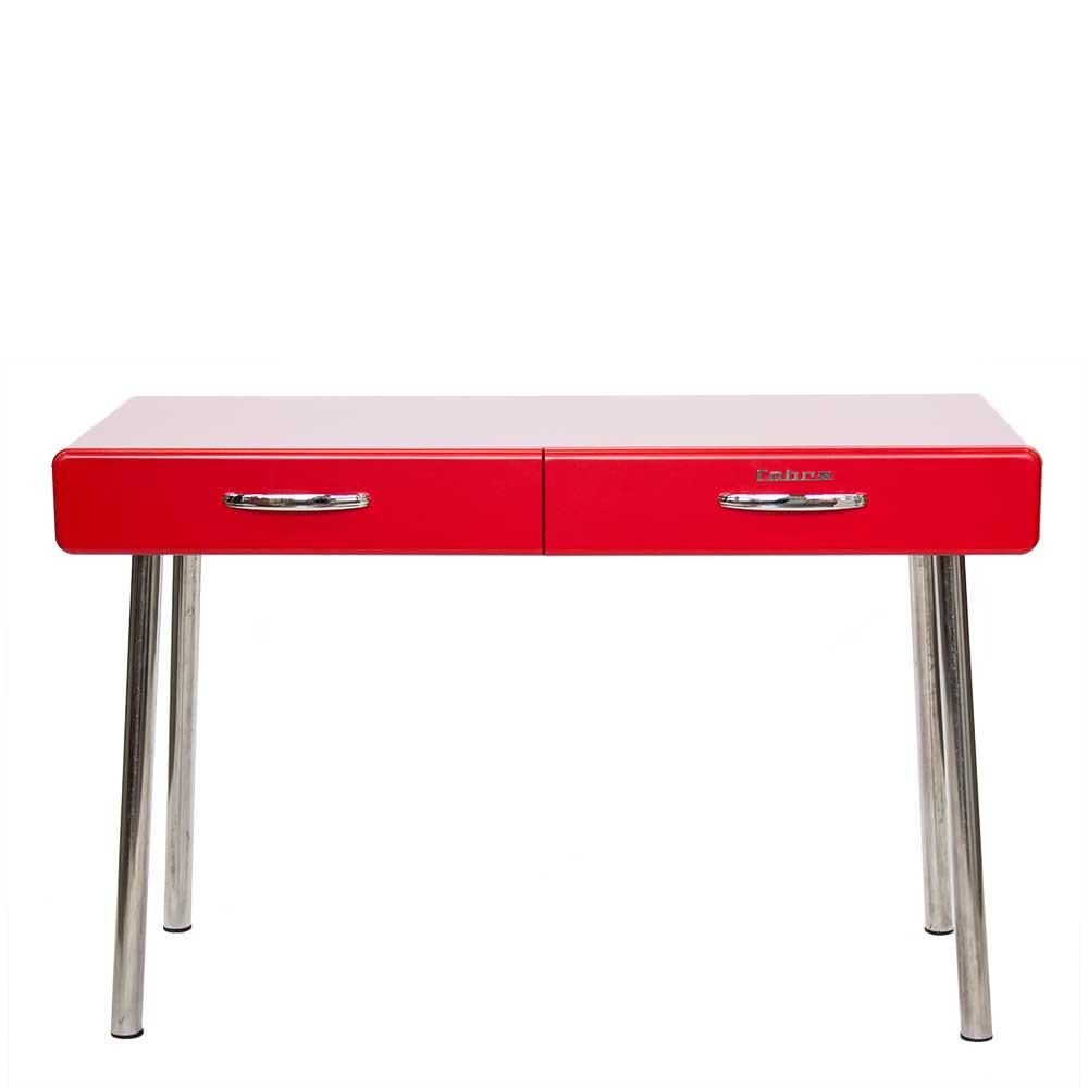 Retro Schreibtisch  Retro Schreibtisch Geordi in Rot 120 cm breit
