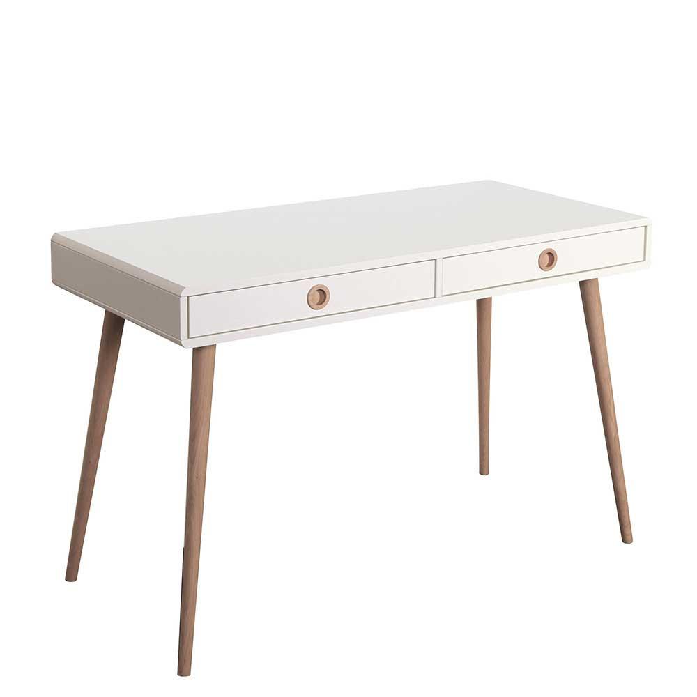 Retro Schreibtisch  Retro Schreibtisch Pocatino in Weiß Holz