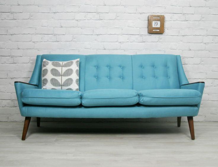 Retro Sofa  Details about RETRO VINTAGE MID CENTURY DANISH STYLE SOFA