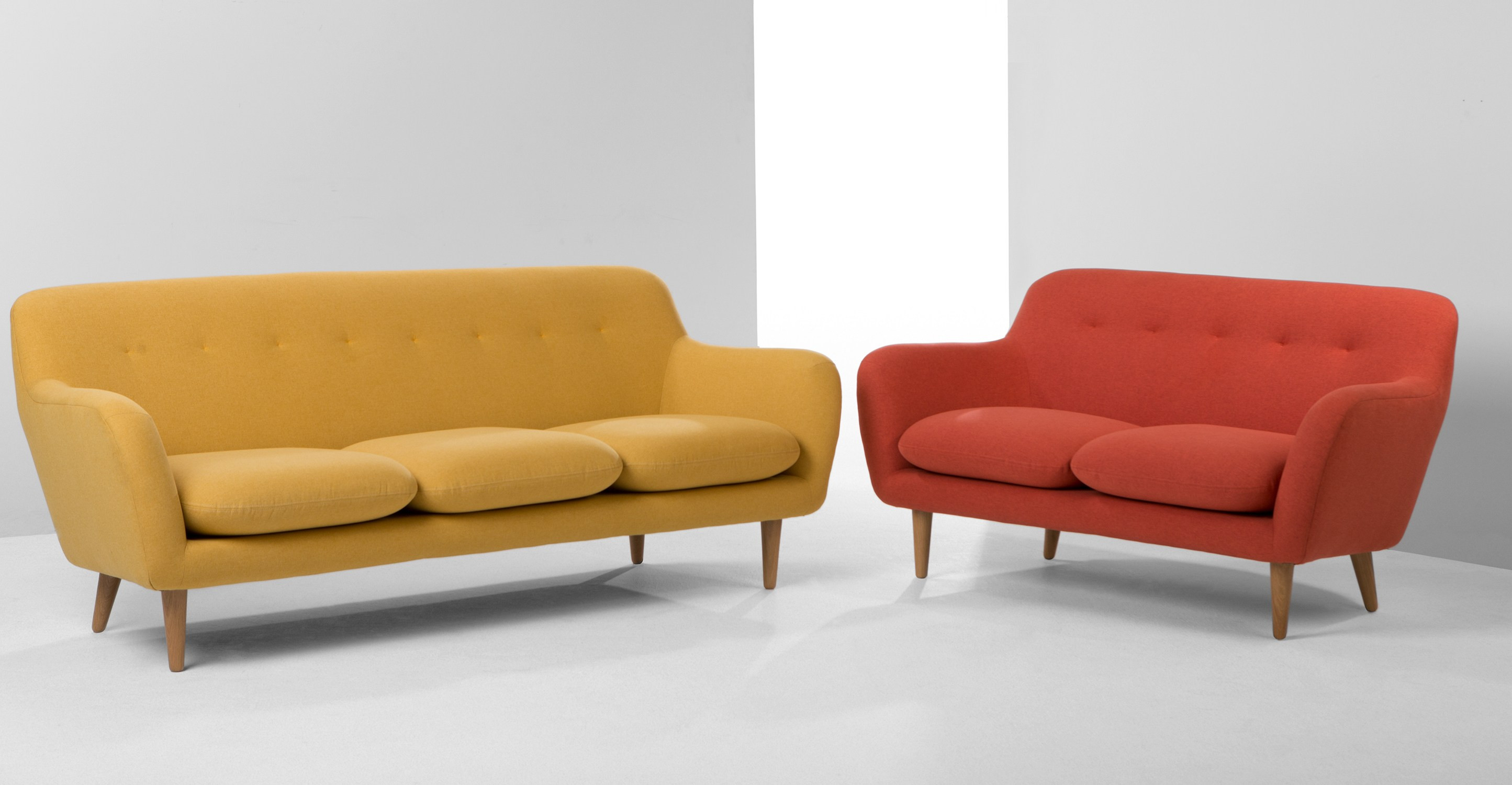Retro Sofa  DYLAN 2 Seater Sofa Retro Orange