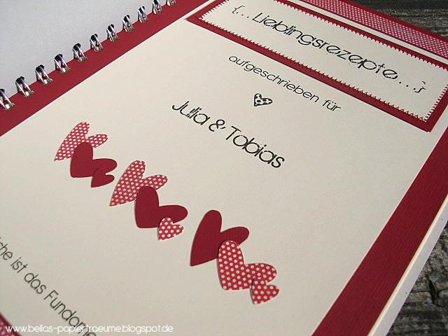 Rezeptbuch Hochzeit  Bellas Papierträume Lieblingsrezepte für das Brautpaar