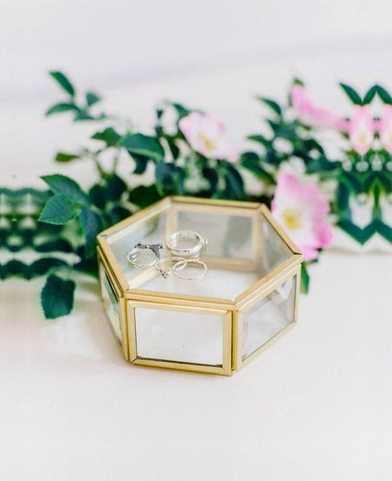 Ringbox Hochzeit  Glas Ring Box Hochzeit Ring Box geometrische Ring Box Ring