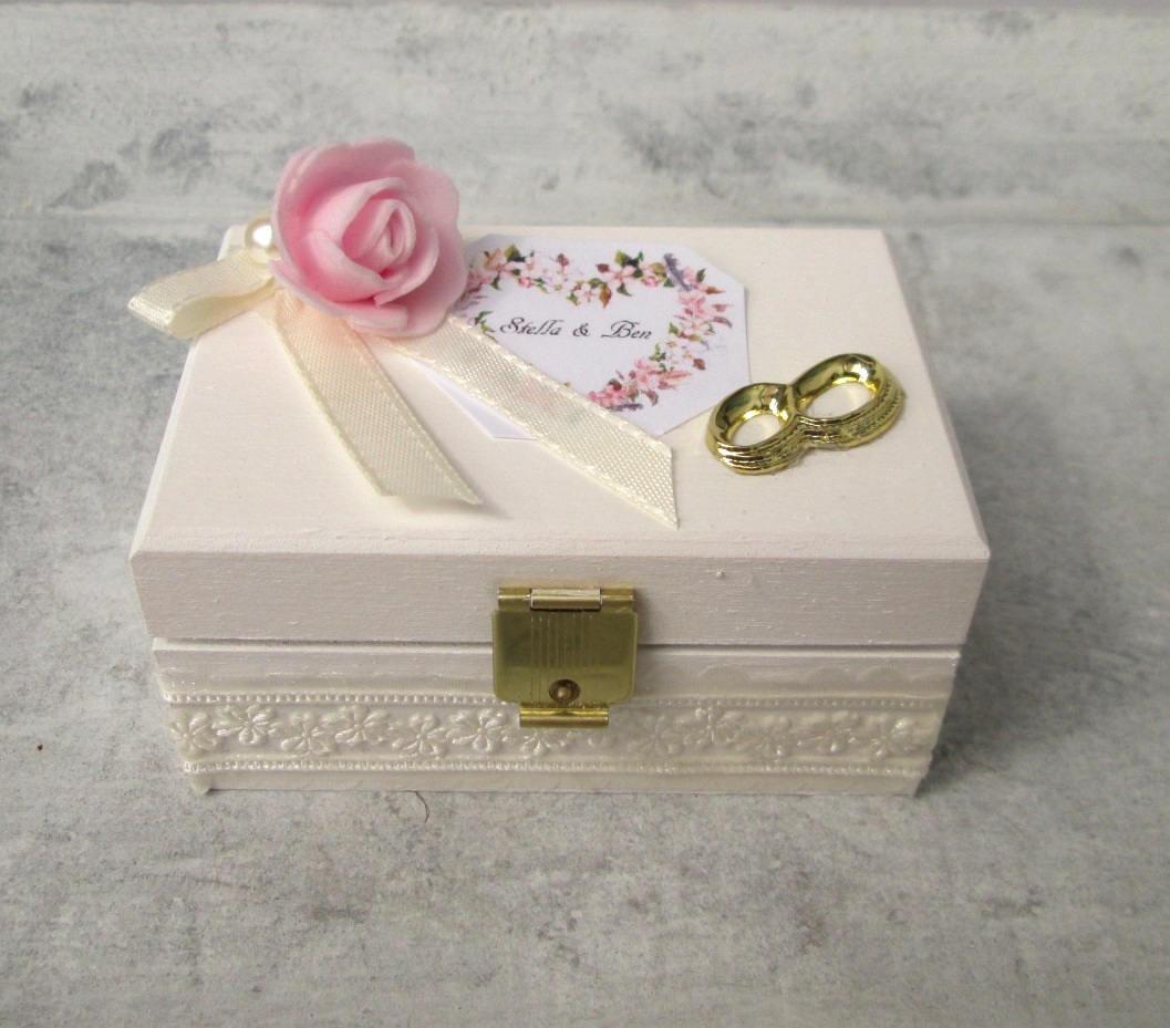 Ringbox Hochzeit  Ringbox Hochzeit Holz Ring Box white Wedding Wooden Cascet