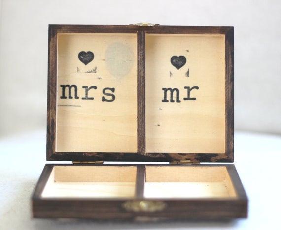 Ringbox Hochzeit  Rustikale personalisierte Ring Box Vintage Shabby Chic Strand