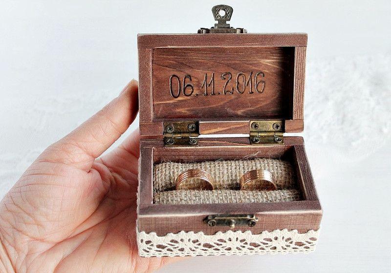 Ringbox Hochzeit  Rustikal Ring Kasten Hochzeit Ringkissen Box Sch von