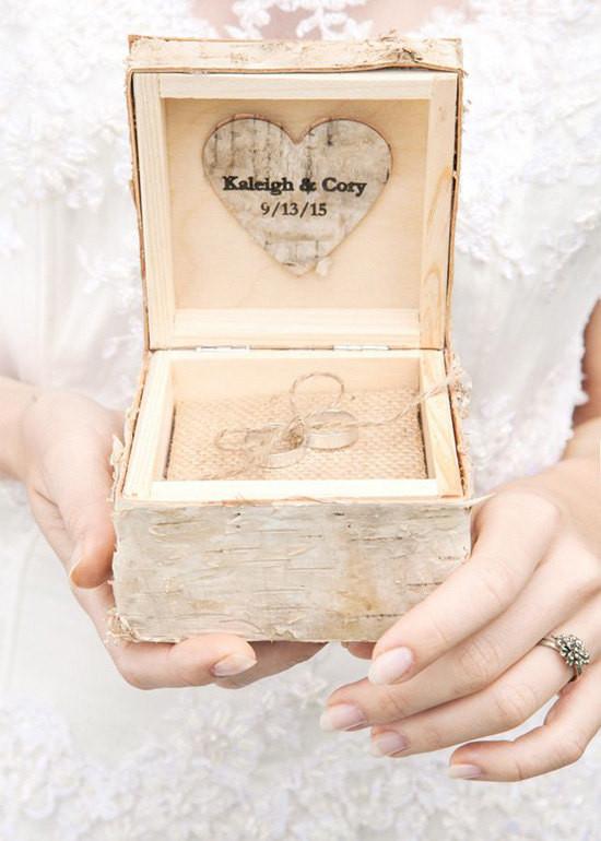 Ringbox Hochzeit  Birch Bark Wood Wedding Ring Bearer Box Rustic Wooden