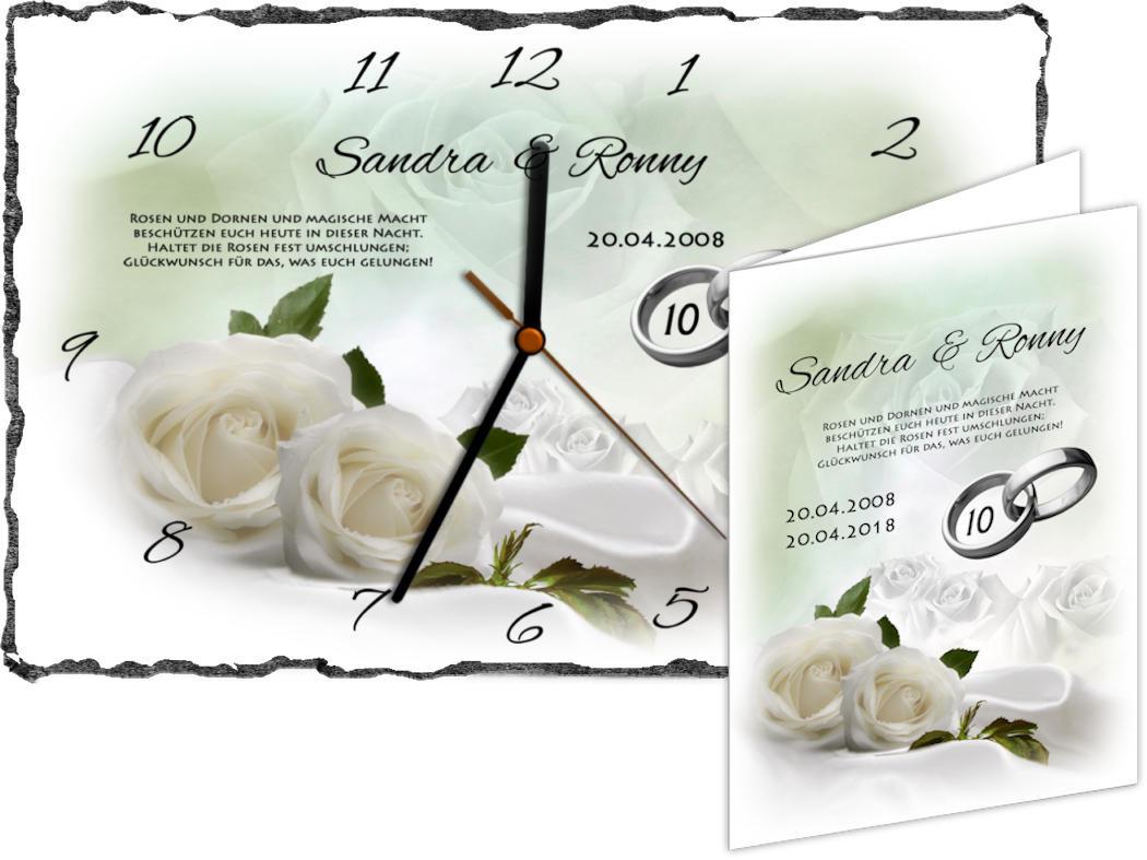 Rosenhochzeit Geschenke  Rosenhochzeit Schieferbild oder Schieferuhr