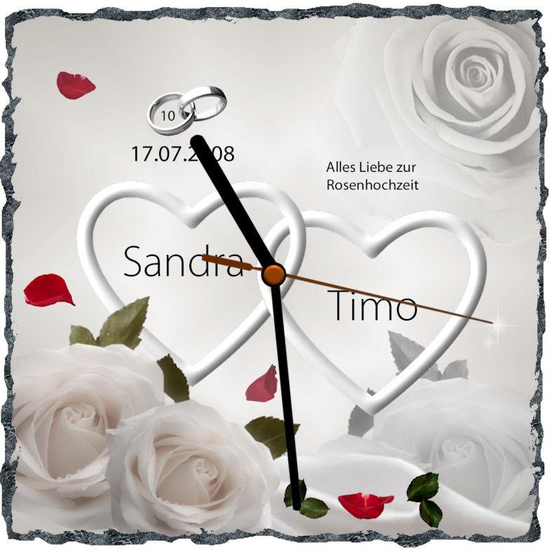 Rosenhochzeit Geschenke  Rosenhochzeit Schieferuhr das Geschenk zum 10