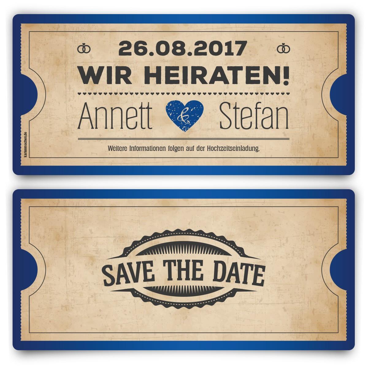Save The Date Karten Hochzeit  Save the Date Karten zur Hochzeit Vintage Herz in Blau