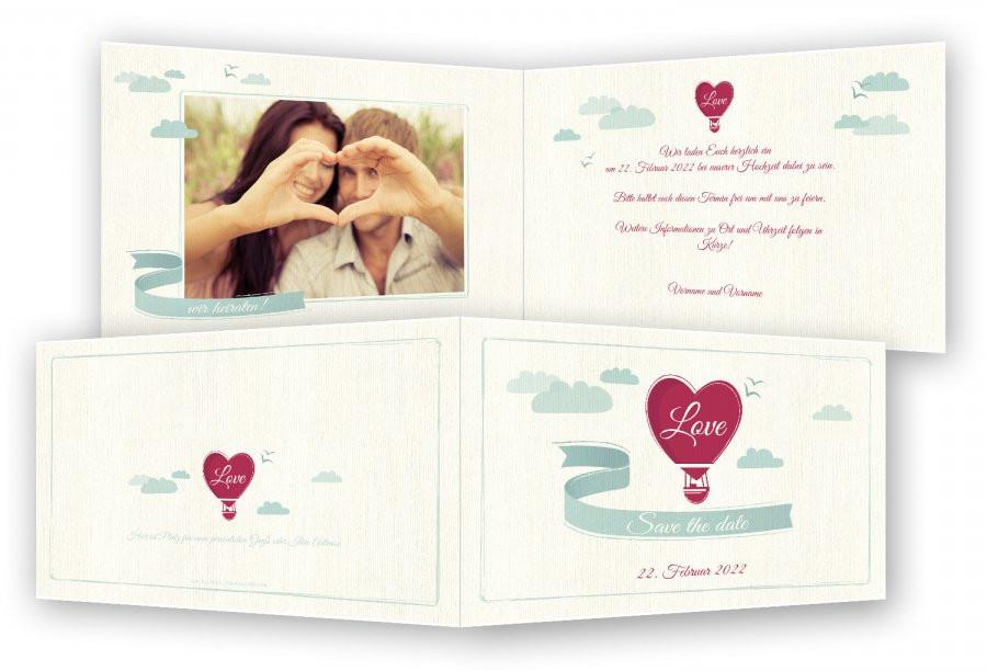 Save The Date Karten Hochzeit  Save the date Karten Hochzeit Herz Ballon