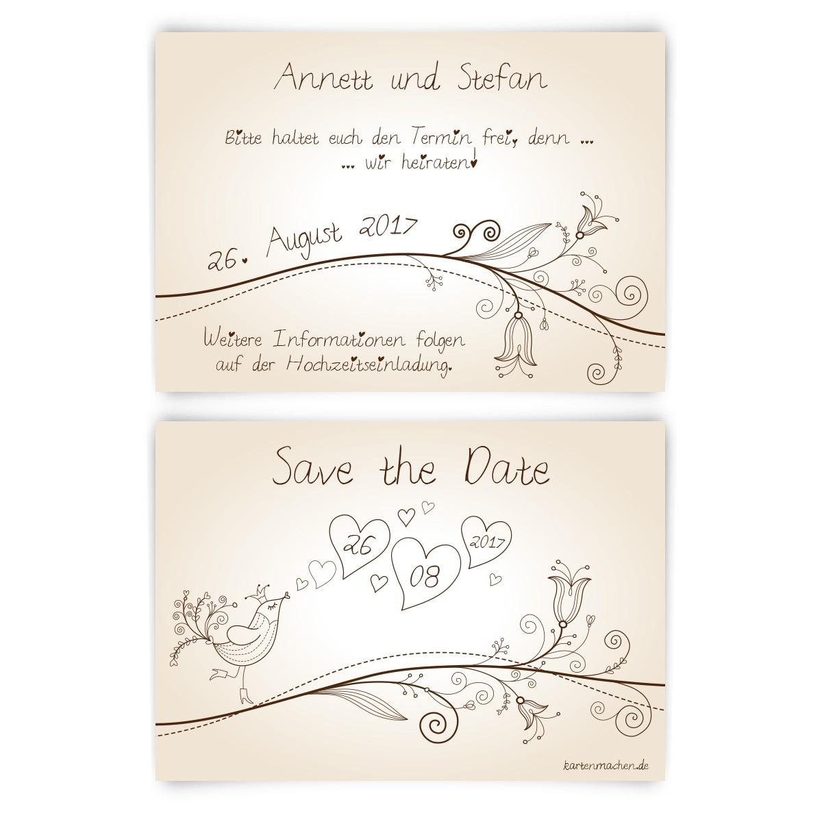 Save The Date Karten Hochzeit  Save the Date Karten zur Hochzeit Liebesbaum