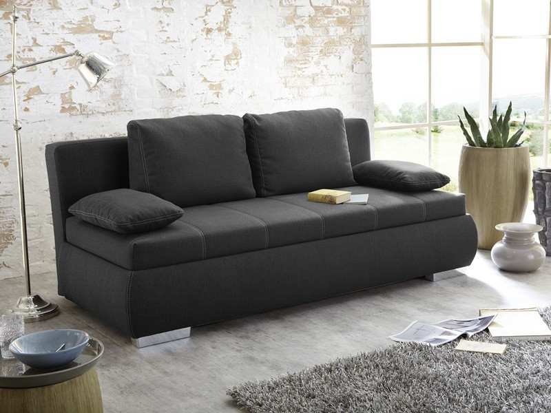 Schlafsofa Boxspring  Dauerschläfer Schlafsofa Merlin 210x112cm dunkel grau Sofa