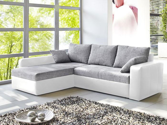 Schlafsofa Grau  Ecksofa Vida 244x174cm grau weiss Schlafsofa Sofa Couch