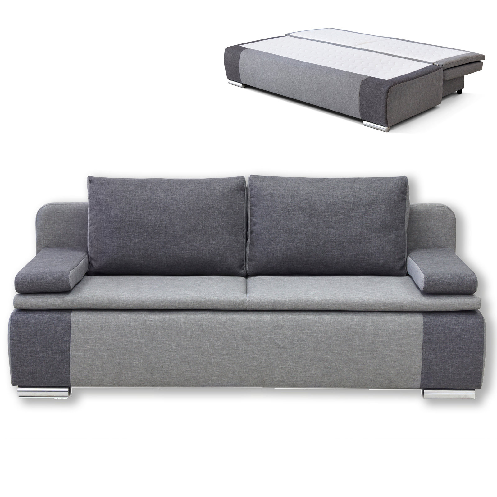 Schlafsofa Grau  Schlafsofa grau mit Staukasten Dauerschläfer