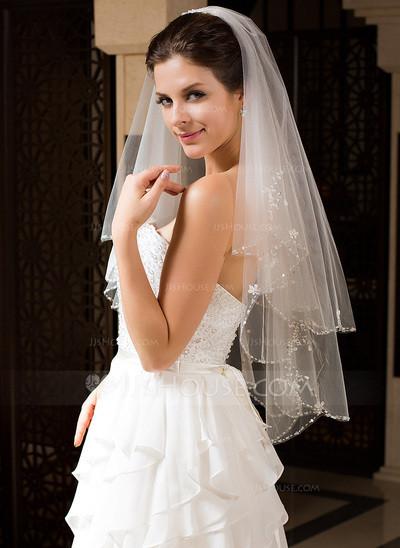 Schleier Hochzeit  Zweischichtig Ellenbogen Braut Schleier mit