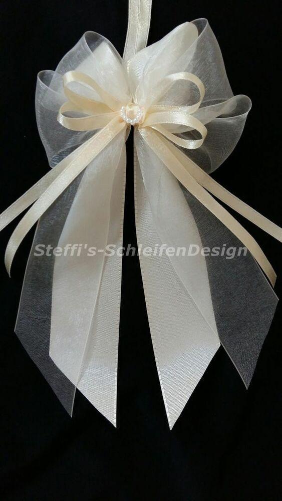 Schleifen Für Auto Hochzeit  10 Antennenschleifen Autoschleifen Hochzeit creme