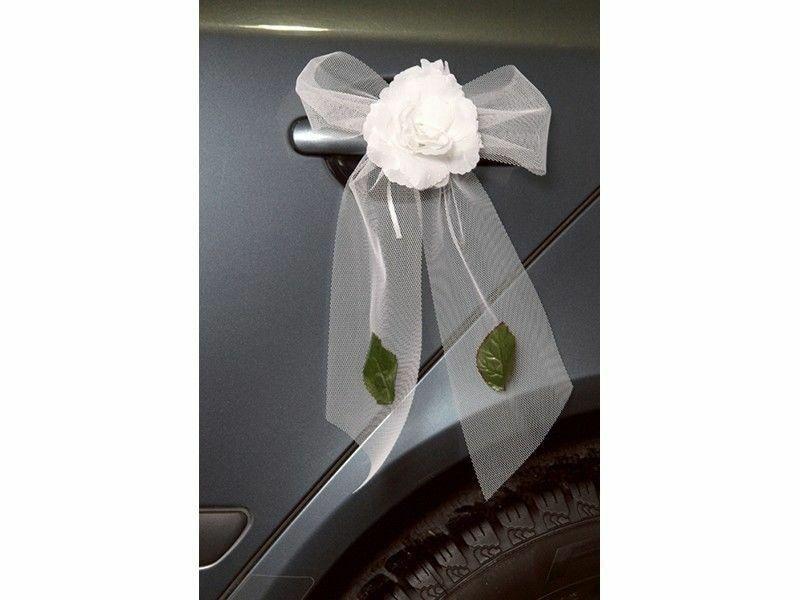 Schleifen Für Auto Hochzeit  Auto Girlanden für Türgriffe Schleife Tüll Weiss Schleifen