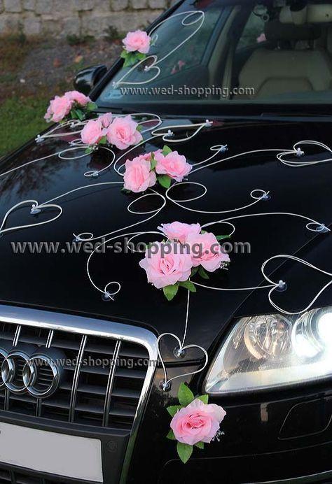 Schmuck Für Hochzeit  Schmuck für Hochzeitsauto Rosen und Herzen Rattan