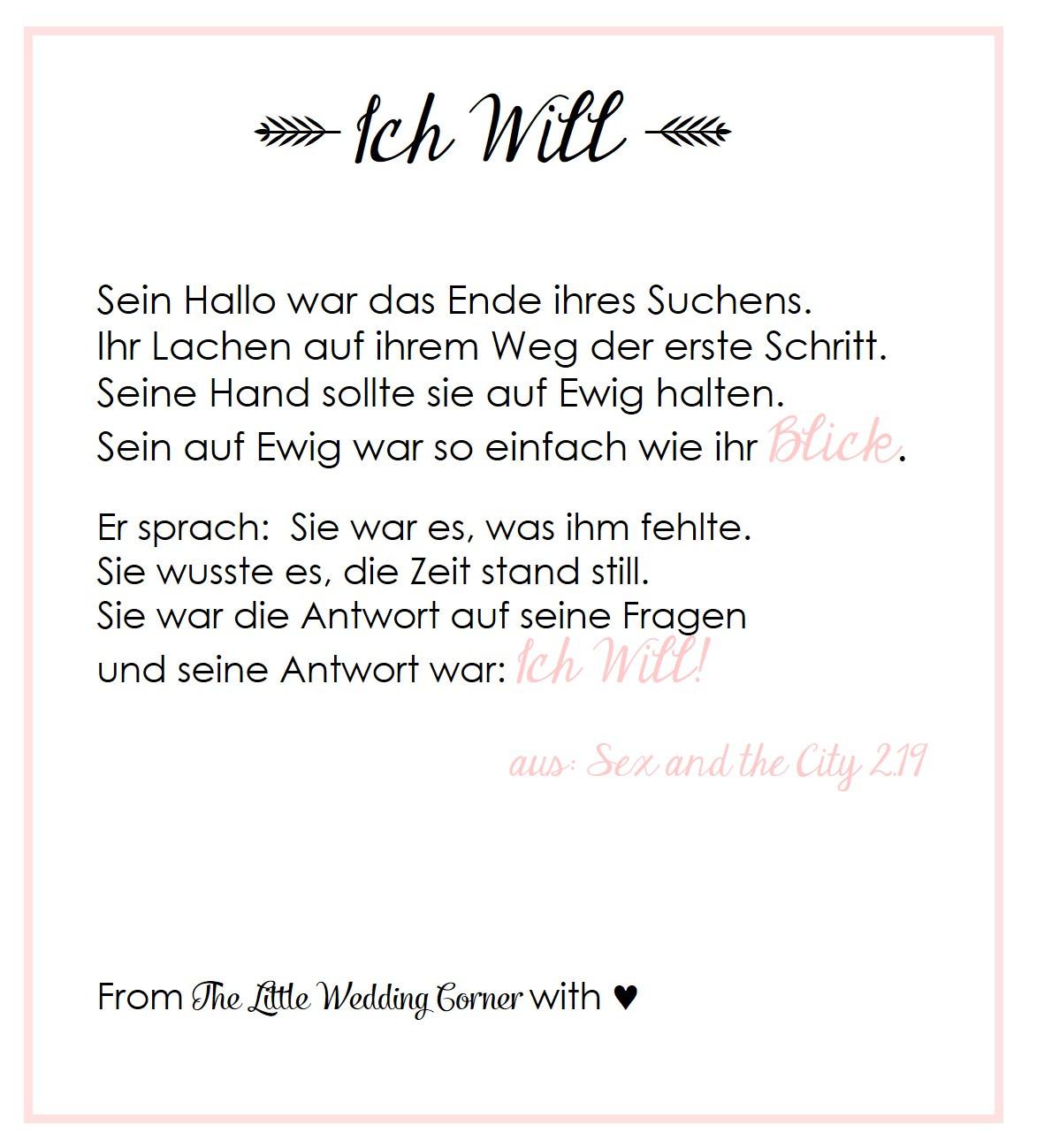 Schöne Lesung Für Hochzeit  Gedicht zur Hochzeit 'I Do' von Carrie aus and the