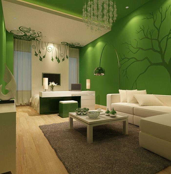 Schöne Wohnzimmer  wohnzimmer einrichten ideen grüne wände schöne wanddeko