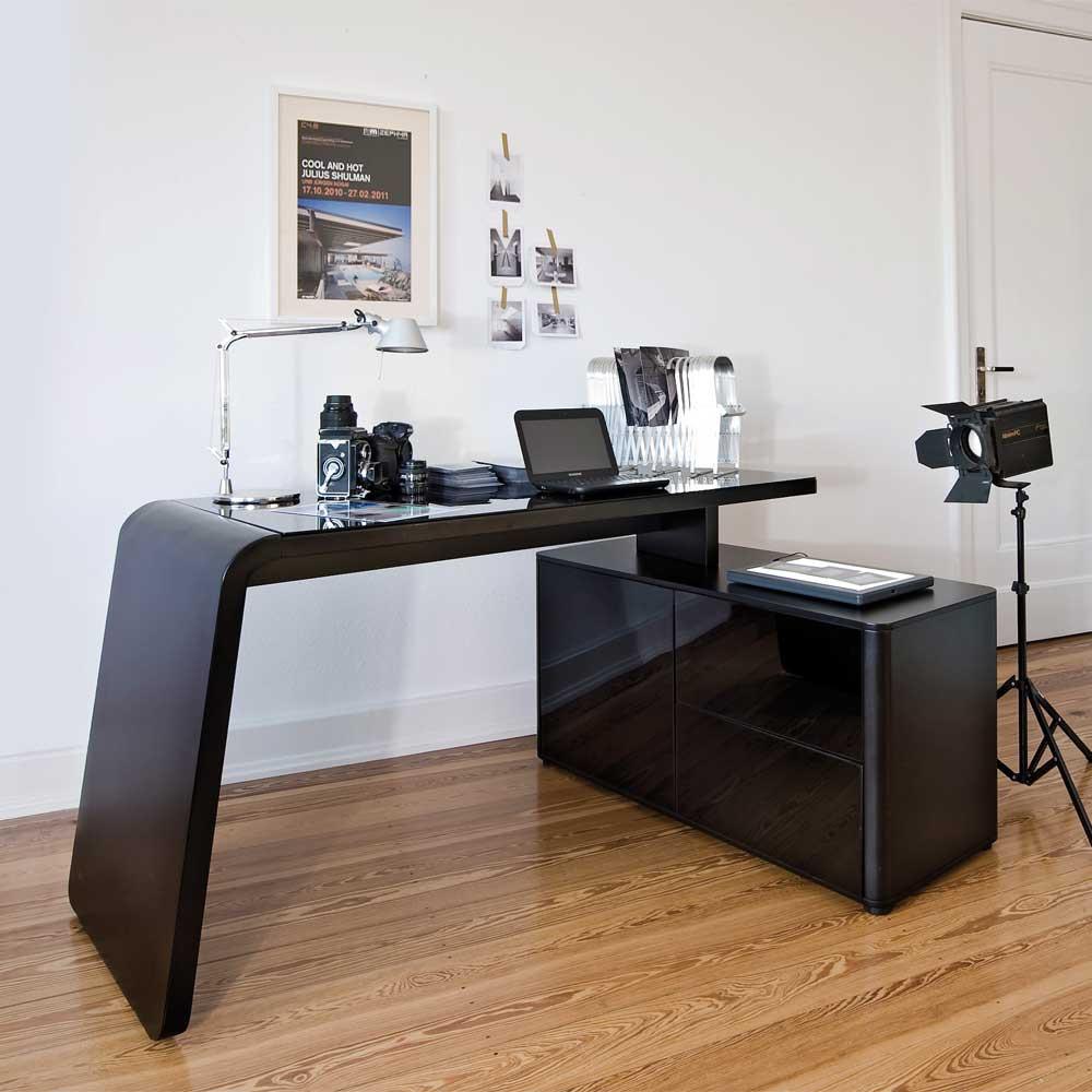 Schreibtisch Design  Designer Schreibtisch in Schwarz Mariebella