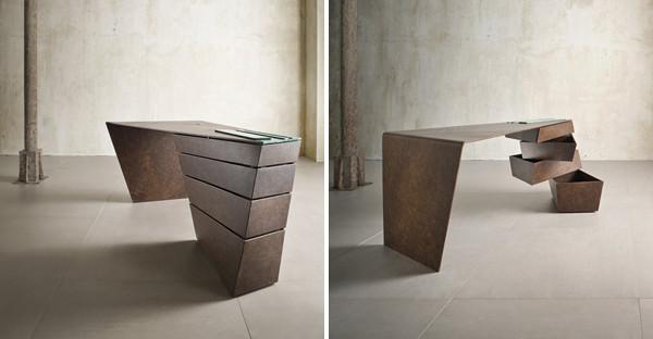 Schreibtisch Design  Designer Schreibtisch mit spektakulären dynamischen Formen