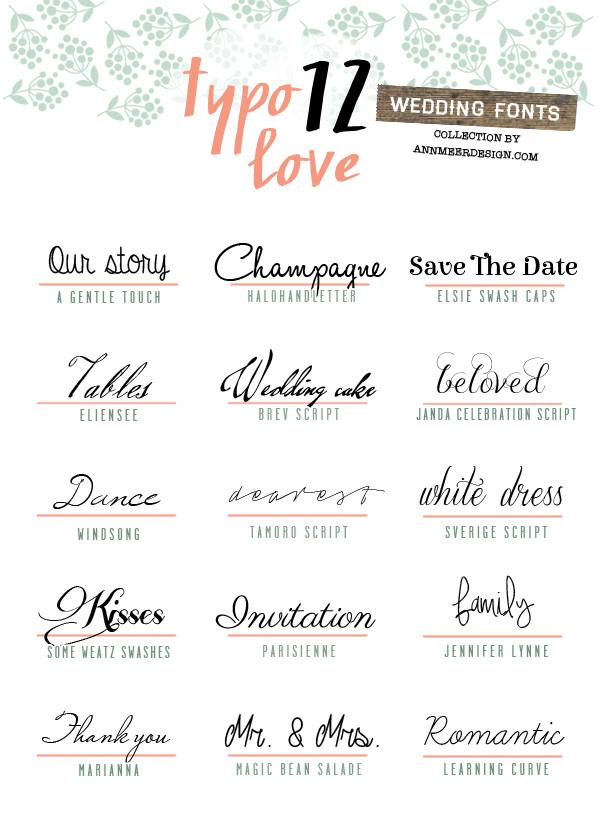 Schriftarten Hochzeit  Schöne Schriftarten für individuelle Karten