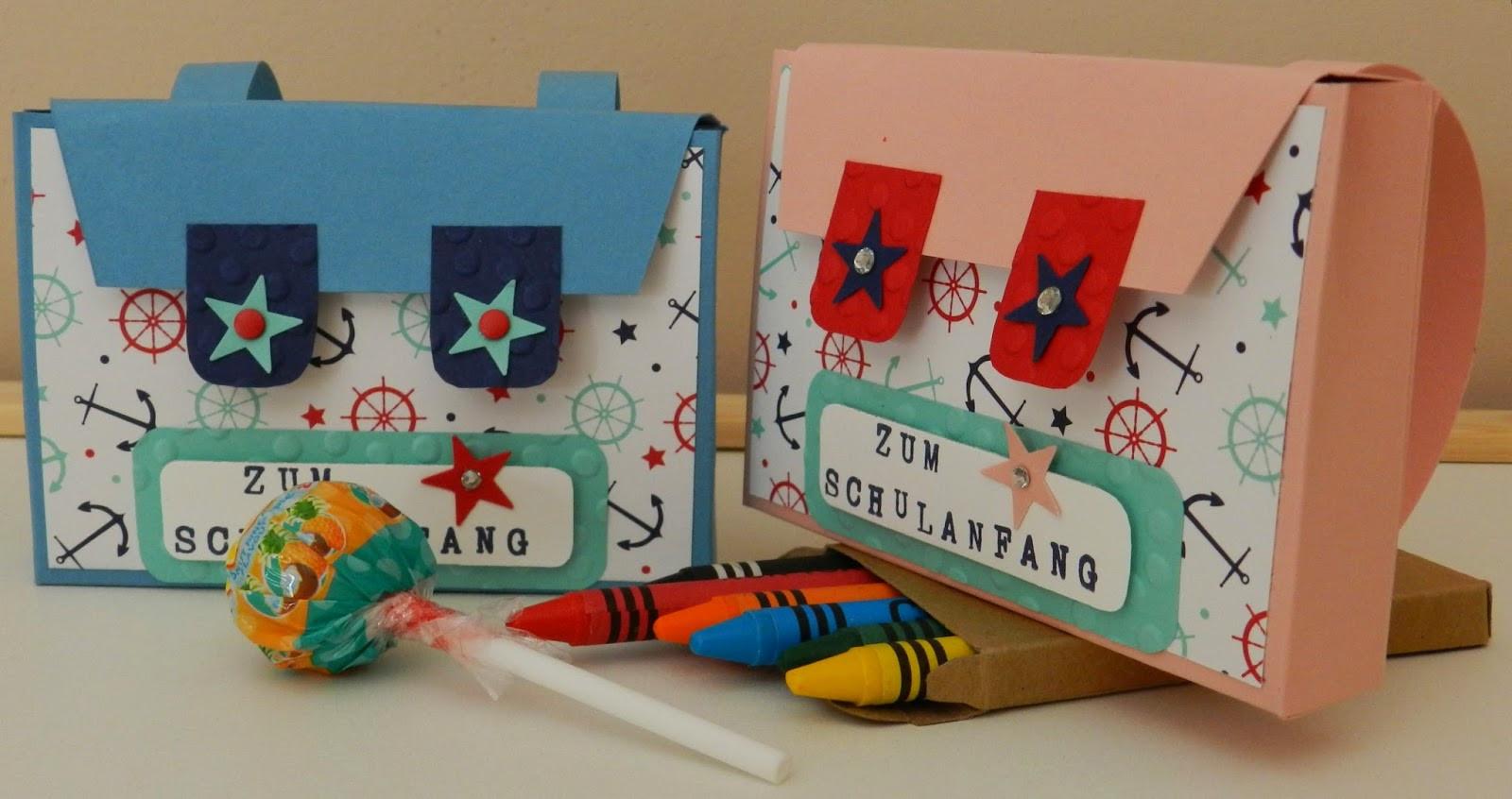 Schulstart Geschenke  Stempelhandwerk Kleiner Schulranzen zum großen Schulstart