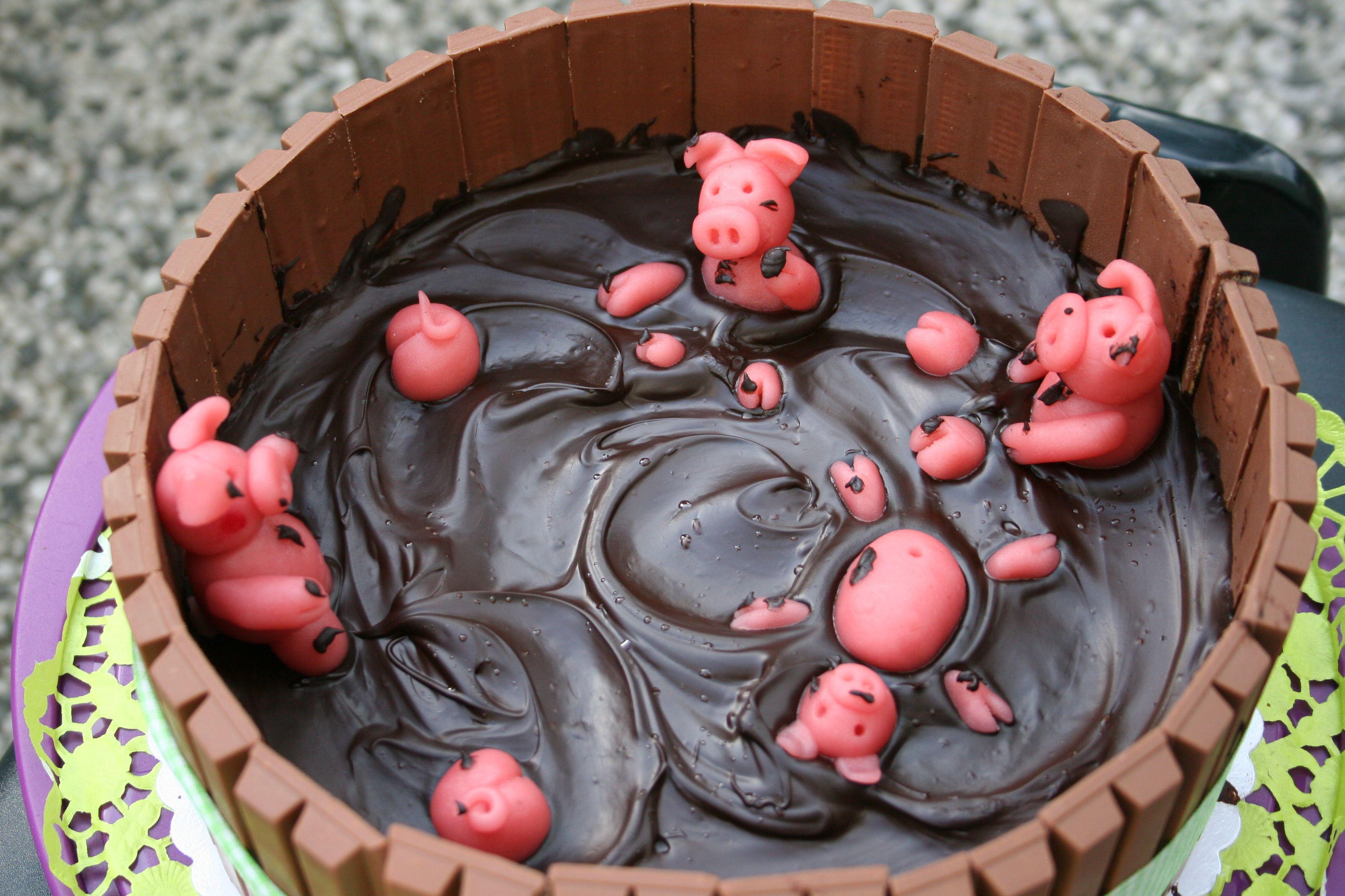 Schweine Kuchen  pigs schweine bottich chocolate Schokolade cake
