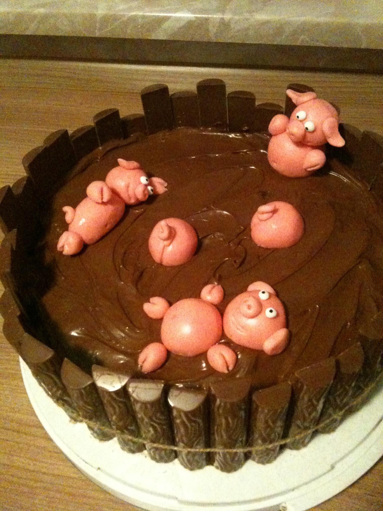 Schweine Kuchen  Schweine im Schlamm Torte